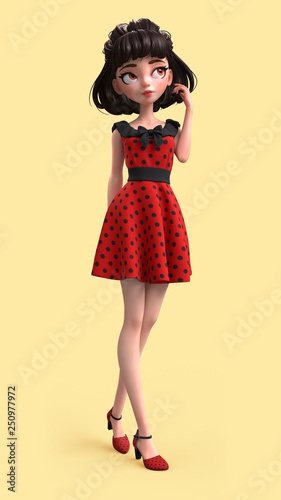 3d Cartoon Character Of A Brunette Girl With Big Brown Eyes Beautiful Cute Cartoon Fashion Valentines
