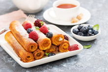 French Toast Roll With Fresh Berries.