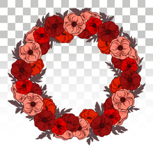Large Wreath Of Red Poppies With Leaves. Rich Flower Garland. For Decoration Of Invitations, Posters, Flyers And The Web.Eps10 Vector