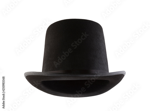 Foto Black vintage top hat isolated on white background