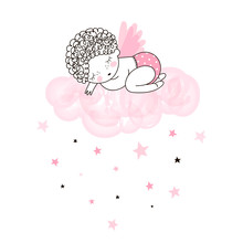 Cute Little Angel Sleeping On Pink Cloud. Vector Doodle Illustration In Pink Colour For Nursery Girlish Designs Like Textile Apparel Print, Wall Art, Poster, Stickers, Cards And More.