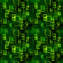 Bright Green Digital Retro Electronic Led Signs On Dark, Complicated Calculations Seamless Pattern