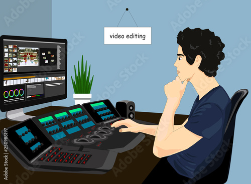 Obraz Video editor working vector icon. Concept of video editing illustration. Man on the chair editing video on a big screen realistic style design, designed for web and app. Eps 10. - fototapety do salonu