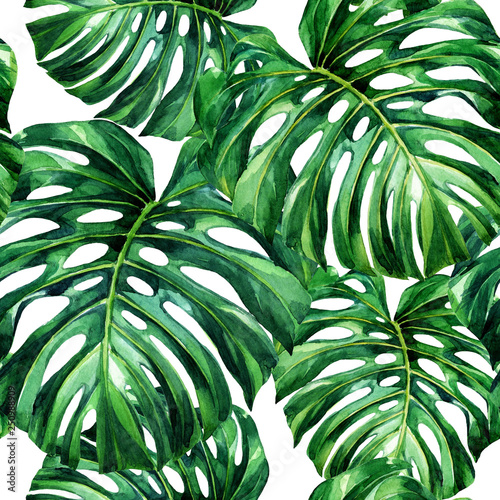 watercolor-seamless-pattern-of-tropical-leaves