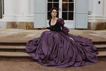 Renaissance Lady Crinoline Blue Dress Princess