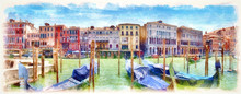 Gondolas On The Grand Canal, Digital Imitation Of Watercolor Painting