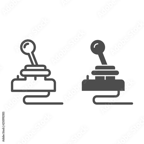 Retro joystick line and glyph icon. Game input pad vector illustration isolated on white. Game console outline style design, designed for web and app. Eps 10.