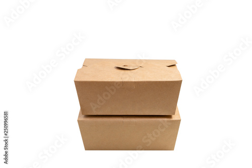 Brown paper box with clipping path . Two kraft paper box with cover stacking isolated on white background,side view . #250996581