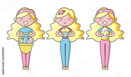 Plakaty do pokoju dziewczynki set-of-cute-kawaii-easter-girl-with-basket-of-easter-eggs-and-sweet-beautiful-kawaii-vector-illustration-for-greeting-card-poster-sticker