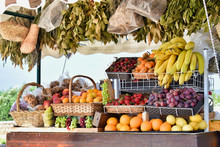 Tropical European Farmers Market Fruit Stand Diverse Fruits Fresh
