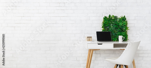 Obraz Modern workplace with laptop and flowerbox, empty space - fototapety do salonu