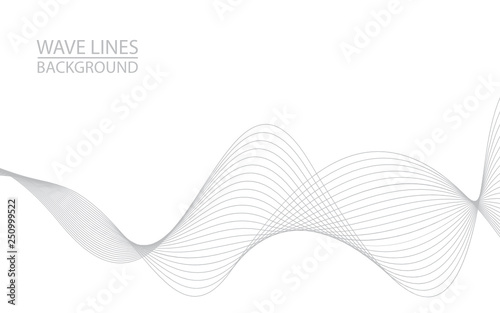 Foto op Plexiglas Abstract wave Abstract wave lines on white background. Can be used presentation, poster. Vector illustration.
