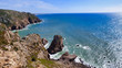 Rocky Shore Ocean Waves Crashing Below Cliff Cabo da Roca, Portugal