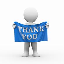 3d Man Cloth Banner Thank You
