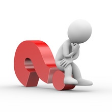 3d Man Thinker Sitting On Question Mark