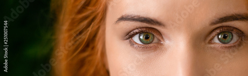 Foto  Green eyes of young redhead woman panorama