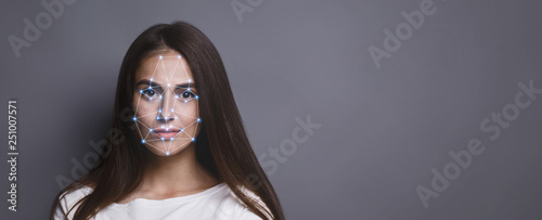 Fotografía  Futuristic and technological scanning of face for facial recognition