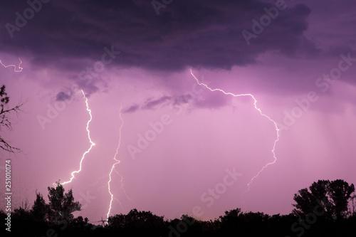 Valokuva  Lightning with dramatic clouds. Night thunder storm