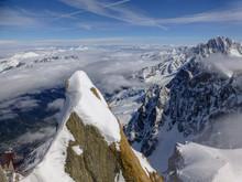 Highest Panoramic Platform On Mountain Peak Aiguille Du Midi In France Above Ski Village Chamonix Mont-Blanc