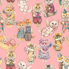 Design of the seamless pattern. Different Fairy-tale cat drawn by hand watercolor
