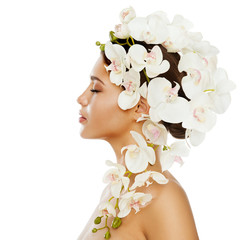 FototapetaWoman Beauty Flowers Hairstyle, Beautiful Girl Portrait with Orchid Flower in Hair
