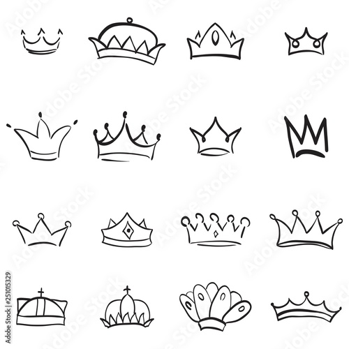Vector crown logo  Hand drawn graffiti sketch and signs collections