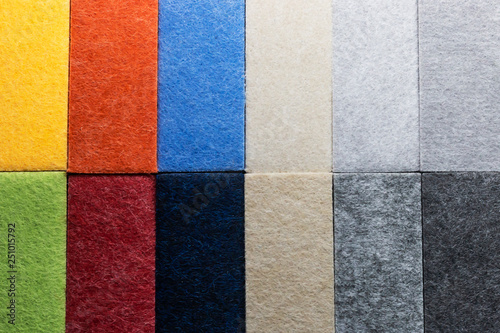 Photo  Sample of multi-colored materials for soundproof wall paneling in interior decoration