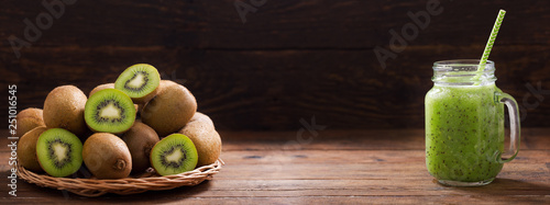 glass jar of kiwi juice or smoothie with fresh fruits Wallpaper Mural