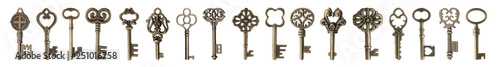 Fotomural  Set of bronze vintage ornate keys on white background