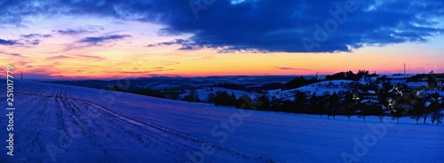 Foto op Canvas Donkerblauw Beautiful winter landscape. Highland - Czech Republic.
