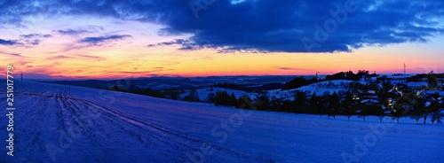 Tuinposter Donkerblauw Beautiful winter landscape. Highland - Czech Republic.