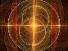 Orange Fractal Background Image, Illustration - Repeating Symmetrical Circles, Offset Circular Geometry. Recursive Abstract Symmetrical Patterns With Red Rectangles On Each Side