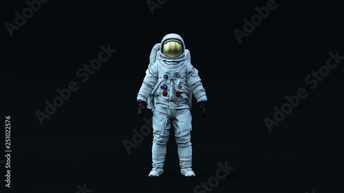 Photo Astronaut with Gold Visor and White Spacesuit with Neutral Light Blue Diffused l