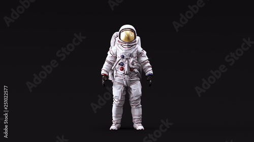 Fotografie, Obraz  Astronaut with Gold Visor and White Spacesuit with Neutral White lighting Front