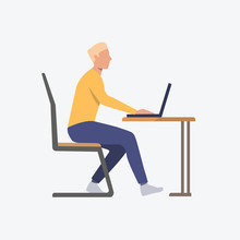 Student At Laptop Flat Icon