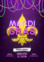 Mardi Gras Party Carnival Banner, Decorative Beads And Shiny Gold Symbol, Vector Illustration