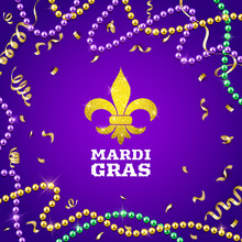 Mardi Gras Decorative Postcard With Colorful Traditional Beads And Gold Symbol, Vector Illustration