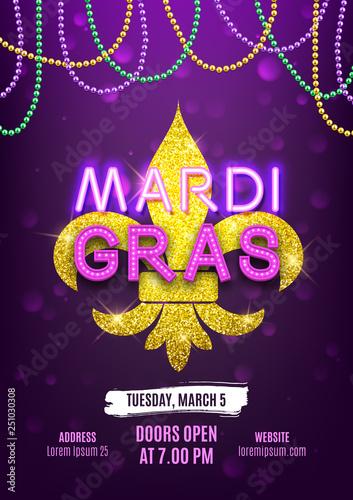 Valokuva Mardi Gras party carnival banner, decorative beads and shiny gold symbol, vector
