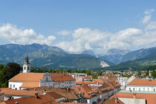 View Of Old Town In Kamink Slovenia, Digital Photo Picture As A Background