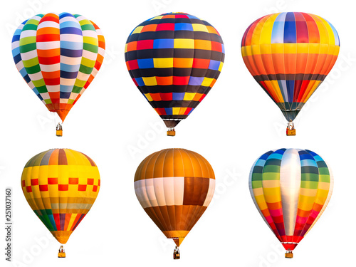 Fotobehang Ballon Collection of colorful hot air balloon on isolated 1