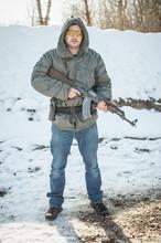 Soldier With Kalashnikov Riffle Machine Gun On Outdoor Shooting Range
