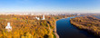 Church of the Ascension in Kolomenskoye park in autumn season aerial view, Moscow, Russia.