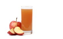 Apple Juice - Sliced red Apples And A Glass Of Naturally Cloudy Apple Juice In Front Of White Background