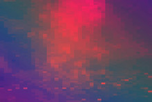 Futuristic Background Of The 80s Retro Style. Digital Or Cyber Surface. Neon Lights And Geometric Pattern , Test Screen Glitch.