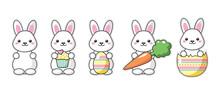 Set Of Cute Kawaii Easter Bunn...