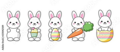 Set of cute kawaii Easter bunnies with carrot, sweet and egg Wallpaper Mural