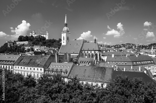 Bratislava castle, saint Martins cathedral and the old town rooftop view in Brat Canvas Print