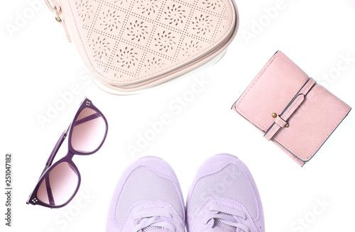 Fotografía  Sports sneakers, leather wallet, bag, sunglasses