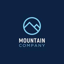 Simple Circular Line Mountain Logo Design