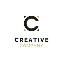 Initial C Logo Design Using Circle And Square
